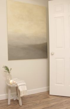 Classic Gray by Benjamin Moore paint color on wall with abstract landscape. Light Blue Paint Colors, Calming Paint Colors, Light Blue Paints, Light Gray Paint, Interior Paint Colors, Paint Colors For Home, White Paints, House Colors, Paint Colours