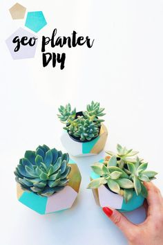 Color blocked geo planters are my current favorite outdoor accessory and  make a vibrant addition to my tiny outdoor space. This DIY was pretty easy  but took a couple days, mostly to wait for the clay to dry. I had a lot of  fun making these and since it took some time I felt very proud of my  long-awaitedfinished product. You don't have to use succulents for this,  candles can work too.  Here's what you need - air dry clay, succulents, object the size of your  succulents (I used a cu