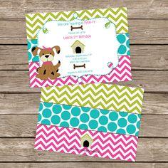 25 printed Girl chevron puppy birthday party by InvitesbyEM