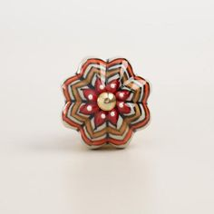 Add a bold touch to your decor with our hand-painted knobs in a melon shape. Featuring red, white, yellow and orange hues, these knobs make a colorful addition to dressers, desks, armoires and more.