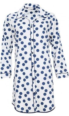 Cyberjammies Zoe Woven Long Sleeve Polka Dot Print Nightshirt Polka Dot Print, Polka Dots, Fabric Covered Button, Pajama Top, Nightwear, One Piece, Pyjamas, Pjs, Long Sleeve