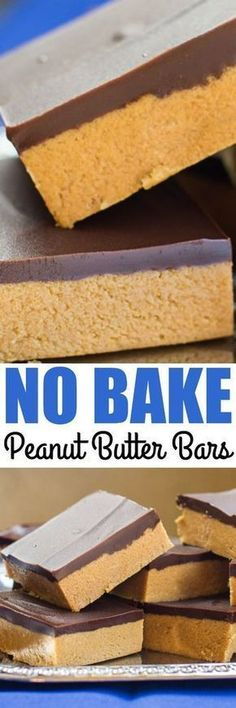 """No Bake Peanut Butter Bars take only 5 ingredients and 10 minutes (plus chilling time). My Grandma calls them """"Almost Reese's"""" for good reason! Candy Recipes, Sweet Recipes, Baking Recipes, Cookie Recipes, Dessert Recipes, Cheesecake Recipes, Weight Watcher Desserts, Peanut Butter Bars, Peanut Butter Recipes"""