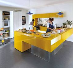 Awesome Kitchen Interior Decoration with Yellow Kitchen Table color and Elegant kitchen Storage Furniture Ideas and Modern Kitchen Cabinet for Unusual Interior Design Favorites Yellow Kitchen Cabinets, Kitchen Ikea, Modern Kitchen Cabinets, Kitchen Cabinet Colors, Kitchen Sets, Kitchen Colors, Kitchen Furniture, New Kitchen, Kitchen Yellow