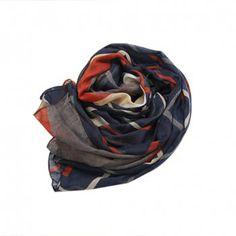 Versatile Striped Color Patchwork Scarf For Women, NAVY in Scarves   DressLily.com