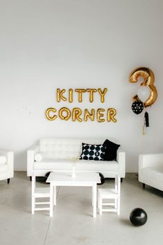 Great Idea for Cat Themed Birthday Party. Add a Kitty Corner to the room to sit and relax. Black White and Gold Themed Party Decor