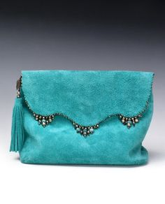 Anat Gelbard- Handmade suede reversible clutch with gems