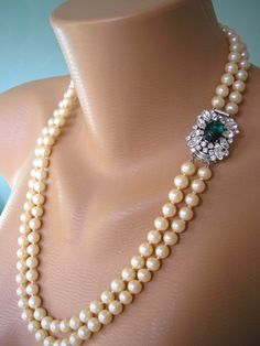 Emerald Necklace, Statement Necklace, Great Gatsby Jewelry by CrystalPearlJewelry on Etsy, $85