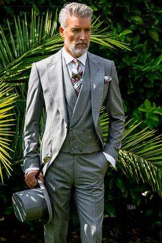 Three piece sharkskin gray morning coat #luxury #menswear #groom #wedding #madeinitaly