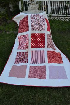 CLEARANCE PRICED Red and White Modern Block Damask backed throw quilt NOW  via Etsy.