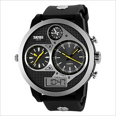 Men Round Dial Three Time Zones Sports Wristwatch with Artificial Leather Strap Wrist Watch Cool Watch Unique Watch 5021624 2017 – $21.99