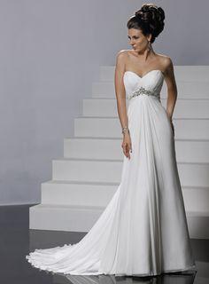 Sweetheart empire waist A-line chiffon wedding dress