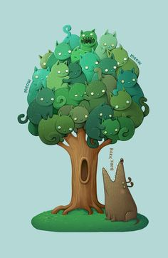 Up a tree!!! (Cats & Dog) Except that Jethro and the cats adore each other.
