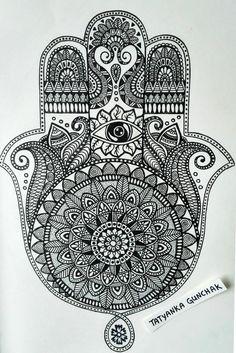 hamsa by Tatyanka-Gunchak on DeviantArt Hamsa Drawing, Hamsa Art, Mandala Drawing, Mandala Sketch, Hamsa Tattoo Design, Hamsa Design, Mandala Design, Tattoo Designs, Mandala Doodle