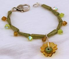 Agate and Glass Bead Ankle Bracelet with Handmade by BlingbyDonna, $28.00