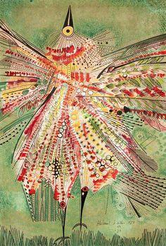 Aldemir Martins,Pássaro; serigrafia sobre juta,1963