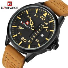 Top Luxury Brand NAVIFORCE Men Sports Watches Men's Quartz Date Clock Man Leather Army Military Wrist Watch Relogio Masculino Description New and high quality Leisure design Men's watch Date and Hours display Water resistant Japanese Quartz. Mens Sport Watches, Watches For Men, Men's Watches, Wrist Watches, Luxury Watches, Analog Watches, Timex Watches, Men's Accessories, Shop Man