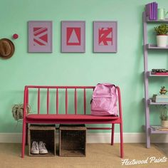 A delightful teen room. Pantone 'Bevelled Glass' for the wall, 'Lavender Fog' on the picture frames + ladder and 'Strawberry Ice' for the bench.