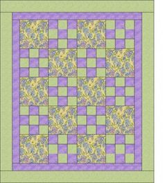 "New from Heirloom Elegance!Three yard quilt pattern, Hopscotch.This pattern is very easy and quick to create.  It would be create to use for your girls night in, quilt retreats, charity quilts, etc.All that is required is one yard each of three coordinating fabrics!The finished quilt will measure approximately 45"" x 54"".  A perfect lap quilt."