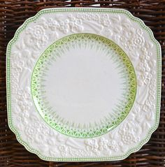 Antique Mint - Apple Green Transferware Square Plate English Earthenwa