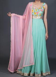 Lashkaraa Mint and Light Pink Floral Anarkali