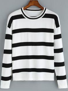 Suéter cuello redondo rayas casual-(Sheinside) Cuello Redondo 88cb768f182e