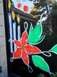 painting holiday windows Candles And Poinsettias With Fluorescent Tempera Paint Painted Window Art, Painting On Glass Windows, Window Paint, Christmas Store, Christmas Art, Christmas Windows, Christmas Ideas, Christmas Doodles, Christmas Projects
