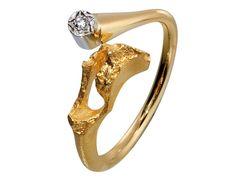 Lapponia Ring Diamantquelle 750/- Gelbgold mit Brillant. Designer Björn Weckström