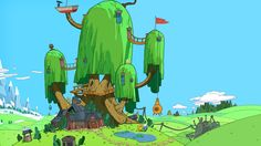 Adventure Time Adventure Time with Finn and Jake tree house trees wallpaper (#1995436) / Wallbase.cc