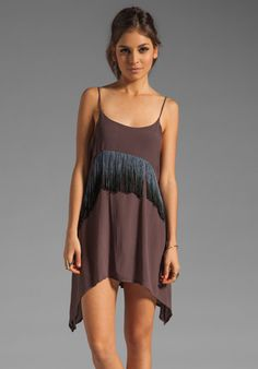 RVCA Black Metal Fringe Dress in Shale at Revolve Clothing - Free Shipping!