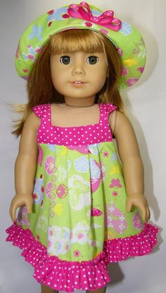 American girl doll Easter sundress and bonnet by CindyrellasCloset, $16.00