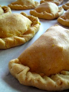 Vegan empanadas - 3 cups whole wheat pastry flour, 4 ½ Tbsp olive oil, ⅔- ¾ cup water (start small and add more as needed)