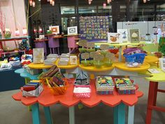 GReat colorful craft display tables