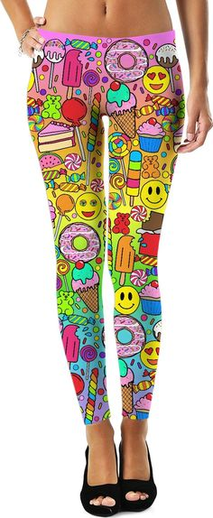 Shop the Rainbow Candy Leggings from the Corey Paige Universal collection. Brighten up your wardrobe with these awesome all-over-print candy leggings! Leggings Sale, Custom Leggings, Printed Leggings, Rave Store, Glitter Leggings, Gothic Leggings, Rave Gear, Rainbow Candy, Custom Made Clothing