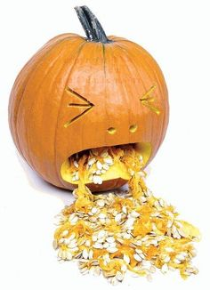 The Puking Pumpkin is my favorite jack-o-lantern pumpkin design for Halloween, and aside from being funny, it's an easy one to carve Holidays Halloween, Fall Halloween, Halloween Crafts, Happy Halloween, Halloween Decorations, Halloween Party, Halloween Quotes, Halloween History, Halloween Science