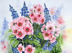 Watercolor 'Kugelprimeln' von Maria Inhoven bei artflakes.com