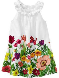 Ruffle-Neck Dresses for Baby, toddlers.... What a breath of Springtime!!!