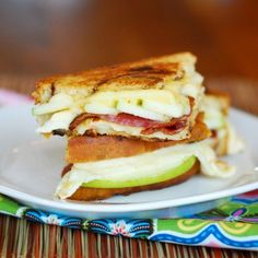 Green apple, Bacon, Gouda, and Havarti Grilled Cheese Sandwich...truly sounds DELICIOUS!