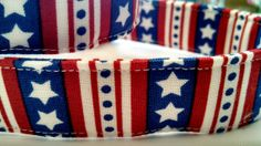 Red White and Blue Stars and Stripes Dog Collar by HalasPaws, $11.99