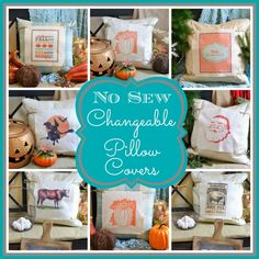 Easy and inexpensive no-sew changeable pillow covers Diy House Projects, Sewing Projects, Sewing Ideas, Sewing Patterns, No Sew Pillow Covers, No Sew Curtains, Halloween Decorations, Christmas Decorations, Holiday Decor