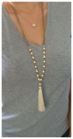 N623 Long Antique Bronze Chain Necklace Cream Stones and