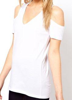 White V-neck Cut Out Shoulder T-shirt