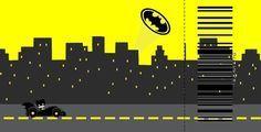 Batman en Amarillo y Negro: Invitaciones de Cumpleaños para Imprimir Gratis.