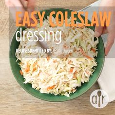 "Easy Coleslaw Dressing ""A creamy coleslaw dressing that can be made with ingredients you already have! You can pour it immediately over coleslaw or refrigerate until needed. Easy Coleslaw Dressing, Coleslaw Salad, Salad Dressing Recipes, Slaw Dressing Recipe Vinegar, Homemade Coleslaw Dressing, Vinegar Coleslaw, Salad Dressings, Salad Recipes, Best Coleslaw Recipe"