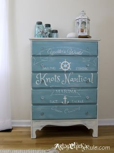 Thrift Store Dresser- Custom Graphics- Annie Sloan Chalk Paint- artsychicksrule.com #provence #chalkpaint