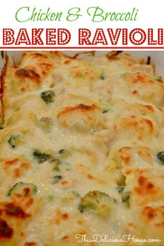 Baked Ravioli with Chicken and Broccoli NO BOIL! Chicken and Broccoli Baked Ravioli casserole recipe is the BEST weeknight dinner! Delicious and creamy sauce that's so easy. Baked Ravioli Casserole, Ravioli Bake, Ravioli Recipe, Casserole Recipes, Ravioli Lasagna, Broccoli Bake, Boiled Food, Eat Smarter, Cooking Recipes