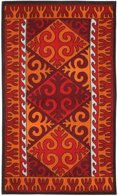 """Shirdak - Handmade Felt Carpet from 100% Wool. Arts and crafts of Kyrgyz people was formed among nomadic life. Kyrgyz masters achieved their greatest perfection in making shirdak, which was an integral part in the decoration of each yurt. Protecting from cold and damp earth, it gives the interior special warmth, joy and festivity. This model """"Jailoo"""" (Meadow), 170*350 cm, will suit classical interior."""