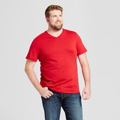 Men's Big & Tall Standard Fit Short Sleeve V-Neck T-Shirt - Goodfellow & Co Red 4XBT