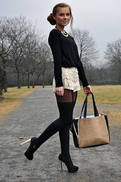 Lace shorts over black tights