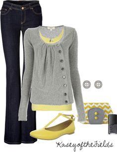 love this sweater and grey and yellow together!!