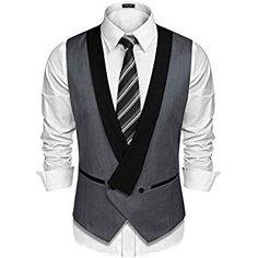 Mens Dress Vest Formal Business Waistcoat One Button Slim Fit Suit Vest Mens Pinstripe Suit, Mens Suit Vest, Dress Suits, Men Dress, Dress Vest, Vest Jacket, Mens Evening Wear, Waistcoat Men, 1920s Style